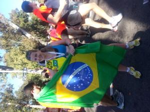 Corredora com bandeira do Brasil
