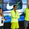 Marilson (centro) e outras estrelas do atletismo na festa da Nike/Divulgação