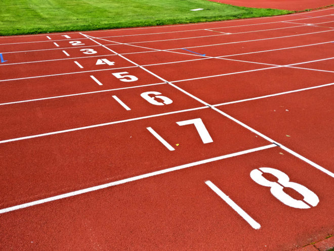 Numbers of starting line track